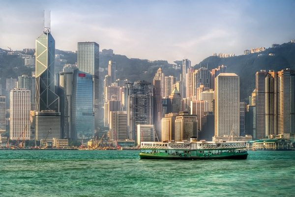 ferry on Victoria harbor in Hong Kong
